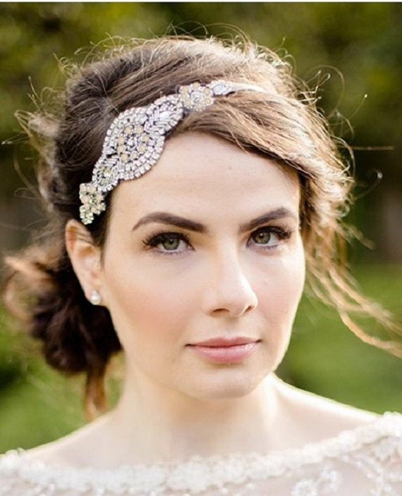 Hochzeit - Rhinestone and Pearl Bridal Headband, Rhinestone and Pearl Bridal Head Piece, Vintage Style 1920's Headband, Wedding Forehead Headband
