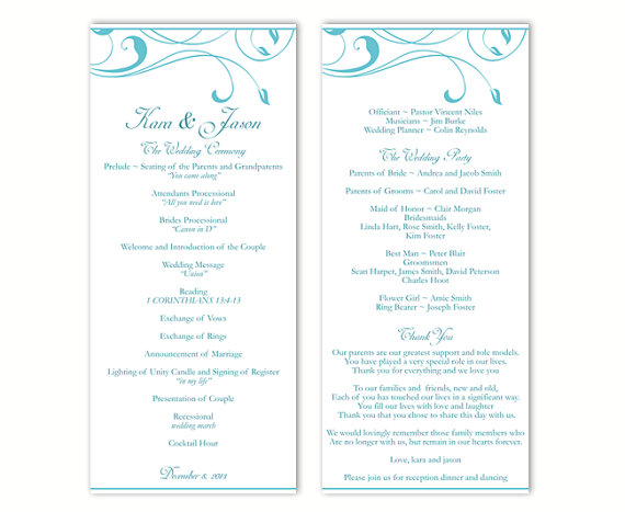 Wedding - Wedding Program Template DIY Editable Text Word File Download Program Aqua Blue Program Leaf Program Printable Wedding Program 4x9.25inch