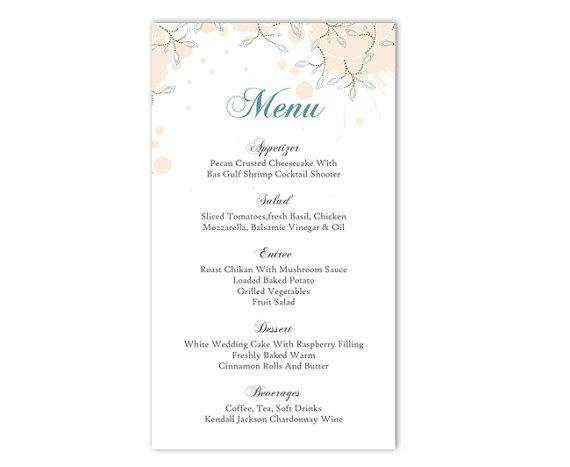 Wedding menu template diy menu card template editable text word wedding menu template diy menu card template editable text word file instant download peach menu leaf menu blue printable menu 4x7inch pronofoot35fo Images