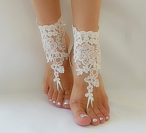 ivory beach wedding barefoot sandals sexy Barefoot french lace embroidered  sandals daf4d69e8e25