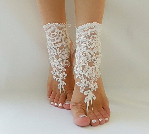Wedding - ivory Beach wedding barefoot sandals