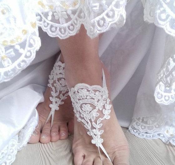 زفاف - bridal anklet, ivory Beach wedding barefoot sandals, bangle, wedding anklet, free ship, anklet, bridal, wedding