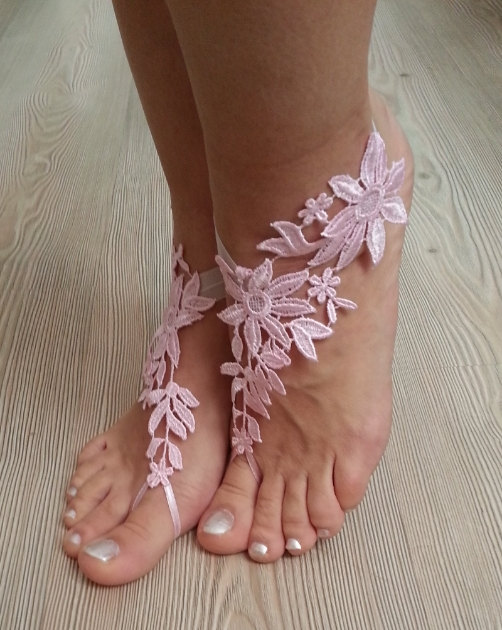 Свадьба - bridal anklet, pink Beach wedding barefoot sandals, bangle, wedding anklet, free ship, anklet, bridal, wedding