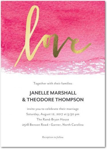 Wedding - Dipped Love - Signature Foil Wedding Invitations In Cranberry