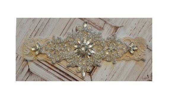 Wedding - Wedding Garter, Single Bridal Garter, Elegant Crystal Rhinestone Garter, Rhinestone Toss Garter, Beaded Wedding Garter