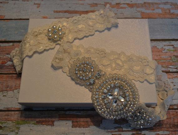 Wedding - Wedding Garter, Rhinestone Wedding Garter Set, Elegant Ivory Stretch Lace, A Beautiful Crystal Rhinestones Applique, Rhinestone Toss