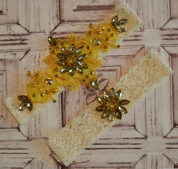 Wedding - Gold Wedding Garter Set, Gold and Bronze Wedding Garter Set, Bridal Garter Set, Fall Wedding Garter Set, Elegant Wedding Garter Set