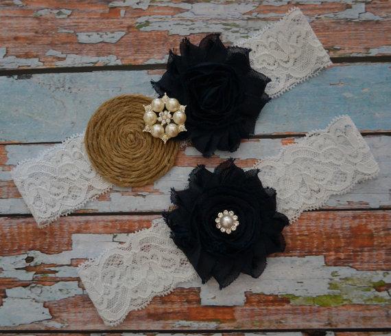 زفاف - Wedding Garter Set, Navy Blue and Burlap Wedding Garter Set, Rope Rolled Flower, Navy Frayed Flowers, Rustic / Country Wedding Garter