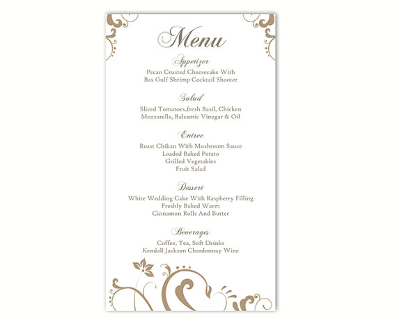 Wedding Menu Template DIY Menu Card Template Editable Text Word File  Instant Download Gold Menu Floral Menu Template Printable Menu 4x7inch  Menu Template For Word