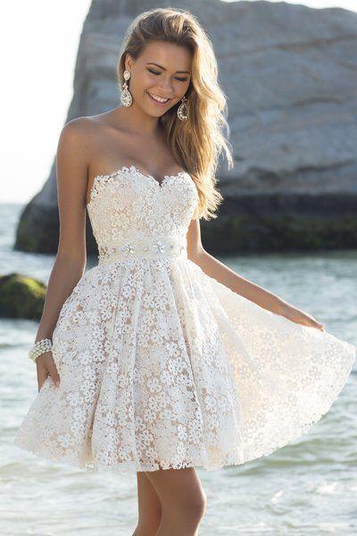 Свадьба - White Strapless Sweetheart Crochet Lace Dress