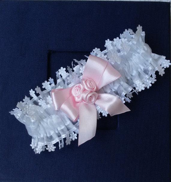 White Wedding Garter: Wedding Leg Garter, Wedding Garter Set, Ribbon Garter