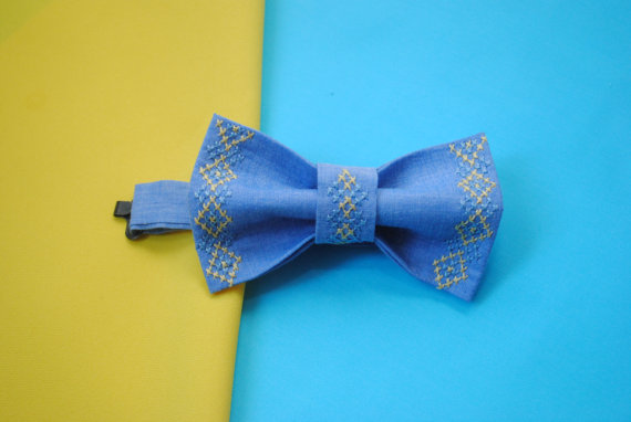 Mariage - Toddler bow tie Newborn bow tie Kids bowties Yellow blue tracery Infant Page boy Ring bearer Boy Ring bearer outfit Toddler wedding clothes