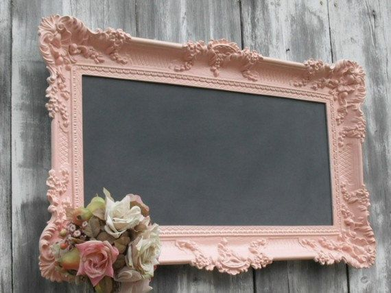 Shabby chic wedding decor chalkboard x large framed for Shabby chic frames diy