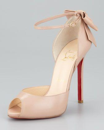 Wedding - Dos Noeud Peep-Toe Ankle Wrap Red Sole Pump, Nude