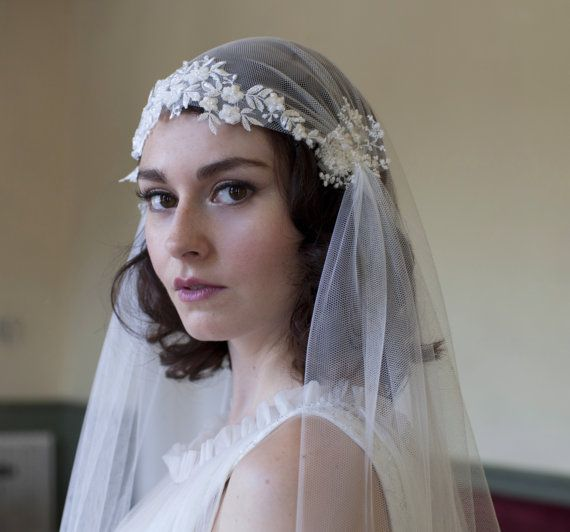Hochzeit - Dramatic Juliet Cap Veil With Beaded Floral Lace ,Kate Moss Style Veil, Cathedral Length Veil,chapel Length Veil,ivory,white, Champagne Veil