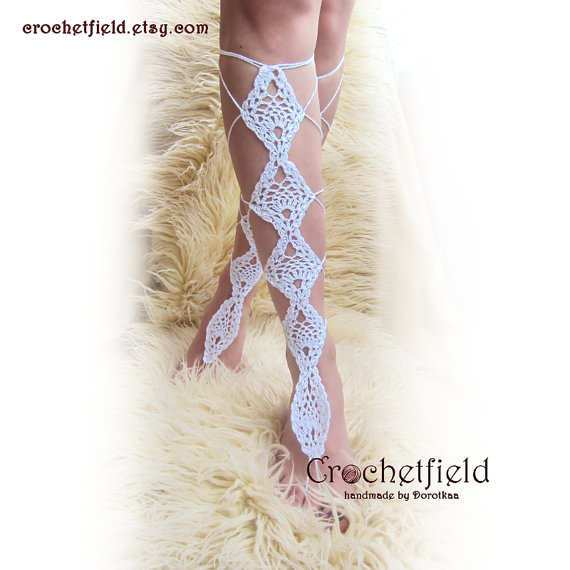 Wedding - PINEAPPLE crochet lace up white barefoot sandals, knee high, gladiator boots, long, lace, beach, pool, leggings, wedding, leg chain, leglet