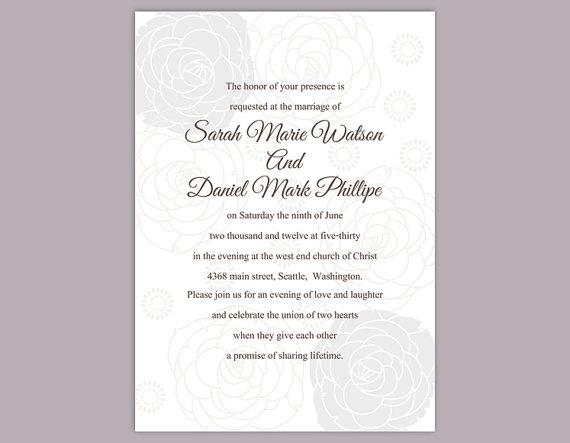DIY Wedding Invitation Template Editable Text Word File Download Printable Si