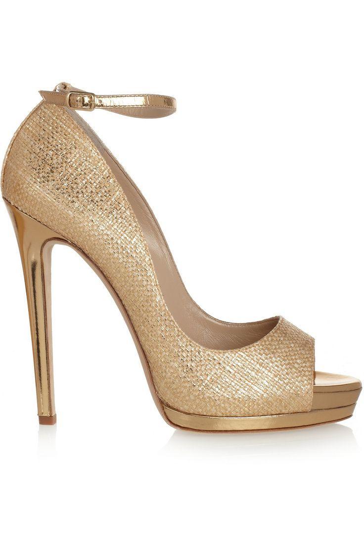 Wedding - Metallic Raffia-effect Sandals