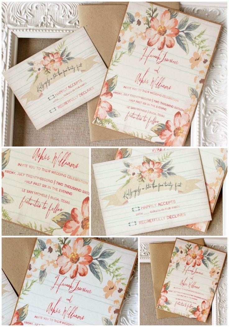 Peach Floral Wedding Invitation Apricot Coral Aqua Watercolor ...