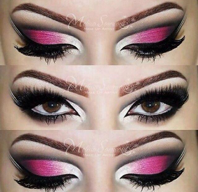 زفاف - Pink & White Arabic Inspired Cut Crease By Melissa Samways