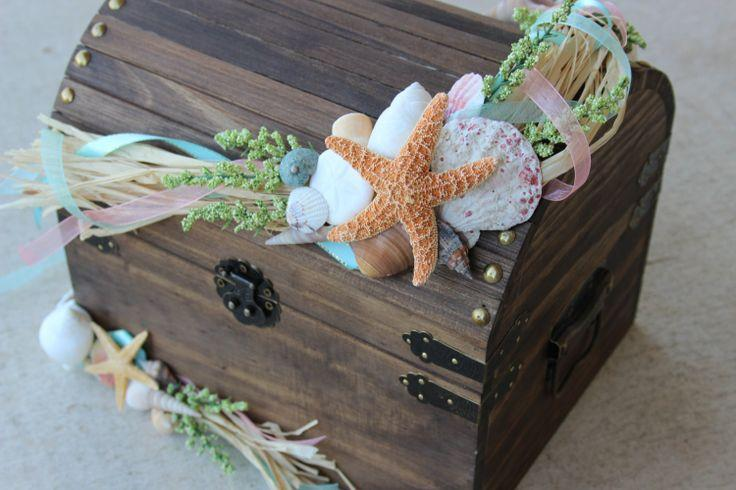Stained Beach Themed Wedding Treasure ChestCard Holder Or – Wedding Treasure Chest Card Box