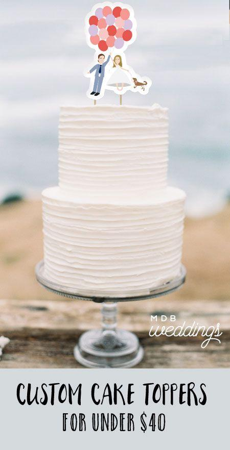 photograph relating to Printable Cake Toppers referred to as One of a kind Wedding day Cake Topper With Handful of Portrait Animals And