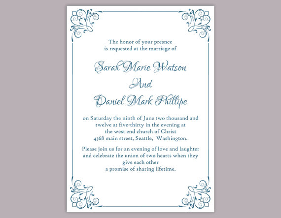 Wedding Invitations Template Word: DIY Wedding Invitation Template Editable Text Word File