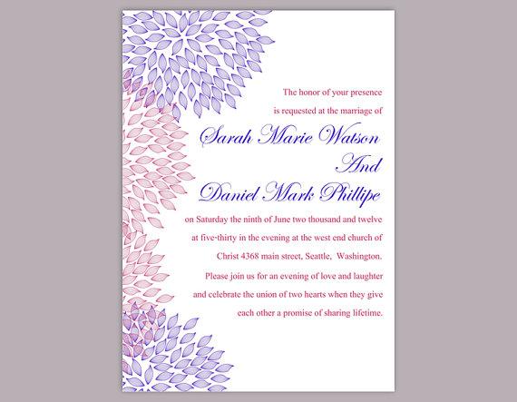 Mariage - DIY Wedding Invitation Template Editable Text Word File Download Printable Floral Invitation Purple Wedding Invitation Mauve Invitation