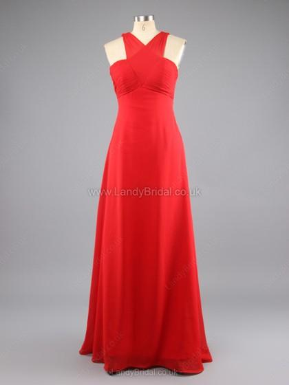 Wedding - UK Sheath/Column Chiffon V-neck Floor-length Pleats Prom Dresses - landybridal.co.uk