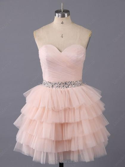 Wedding - UK A-line Tulle Sweetheart Short/Mini Tiered Prom Dresses