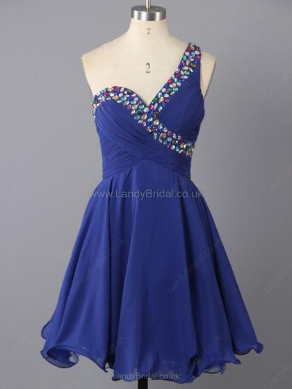 Wedding - UK A-line Chiffon One Shoulder Short/Mini Rhinestone Prom Dresses