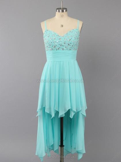 Wedding - UK A-line Chiffon V-neck Asymmetrical Beading Prom Dresses