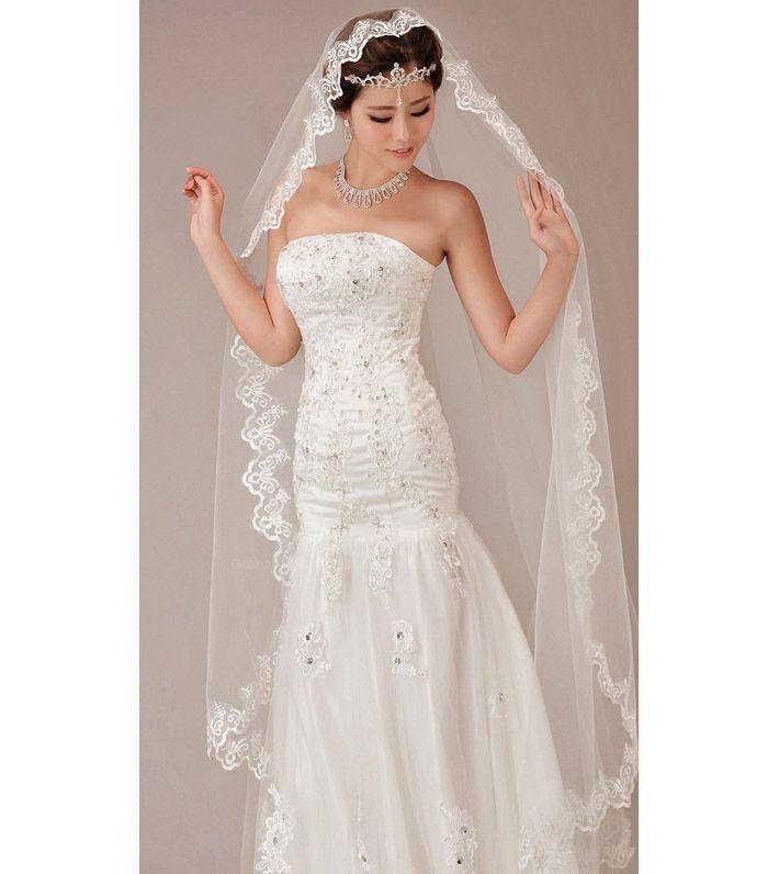 زفاف - Lace Jacquard Embellished Exquisite Wedding Veil For Bride