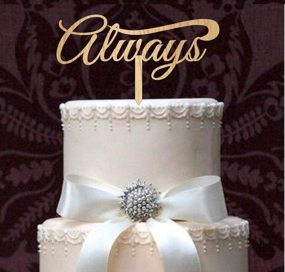 Свадьба - rustic wedding cake toppers - Always Wedding Cake Toppers - natural wood or acrylic cake toppers - Monogram love cake toppers - cake decor