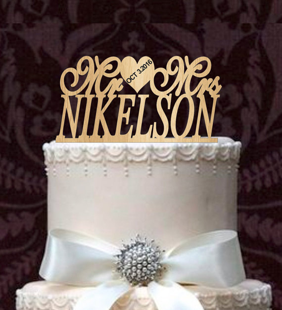 Personalized Mr And Mrs Custom Wedding Cake Topper With Your Last Name And Event Day Cake