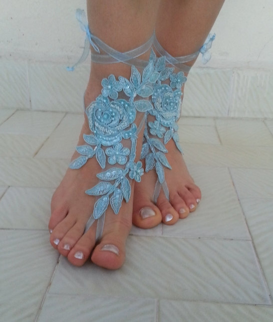 Свадьба - Smoked blue Barefoot , french lace sandals, wedding anklet, Beach wedding barefoot sandals, embroidered sandals.