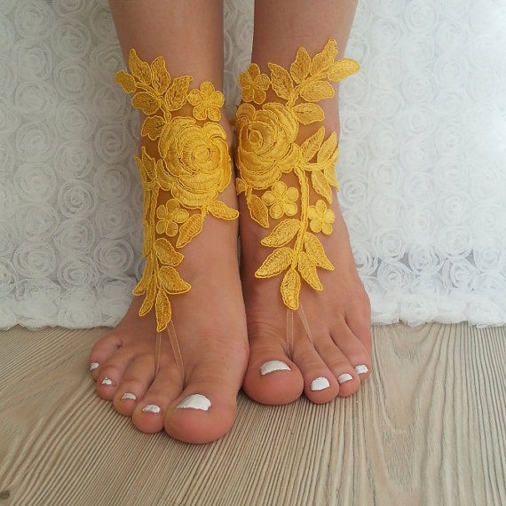 Bridal Anklet Yellow Beach Wedding Barefoot Sandals Bangle Free Ship