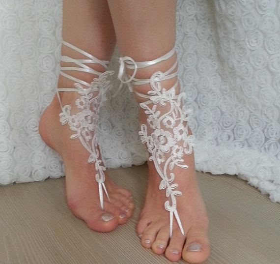 Wedding - bridal anklet, ivory Beach wedding barefoot sandals, bangle, wedding anklet, free ship, anklet, bridal, wedding