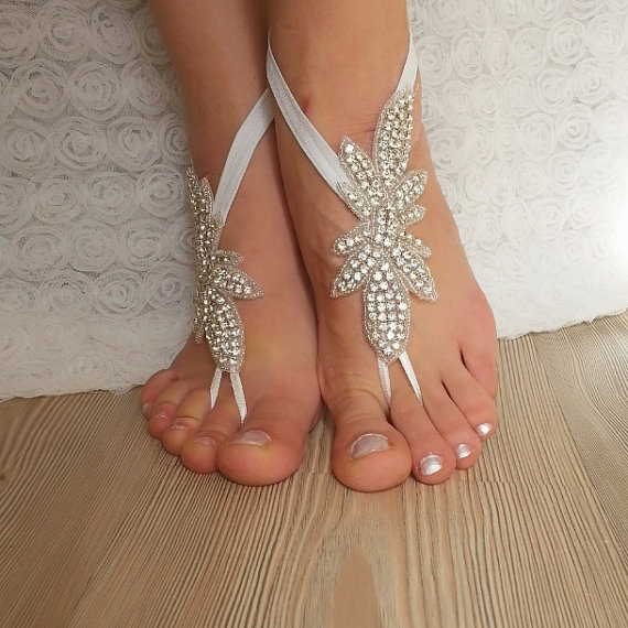 Wedding - Rhinestone anklet, FREE SHIP Beach wedding barefoot sandals, Steampunk, Beach Pool, Sexy, Yoga, Anklet , Bellydance