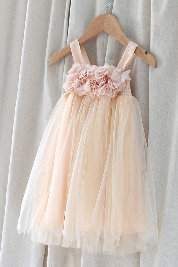 2e403f37f8b Tulle Flower Girl Dress With Chiffon Flowers-Infant Shoulder Strap Dress-Baptism  Dress-Pastel Dress-Princess Dress-Light Peach Wedding Dress