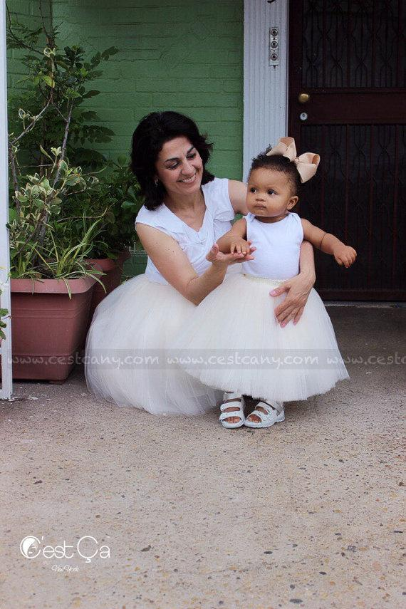 Hochzeit - Mommy and Me Set of Tulle Skirts, Puffy Tulle Skirts for Women & Kids, Adult Tutu, Baby Tutu