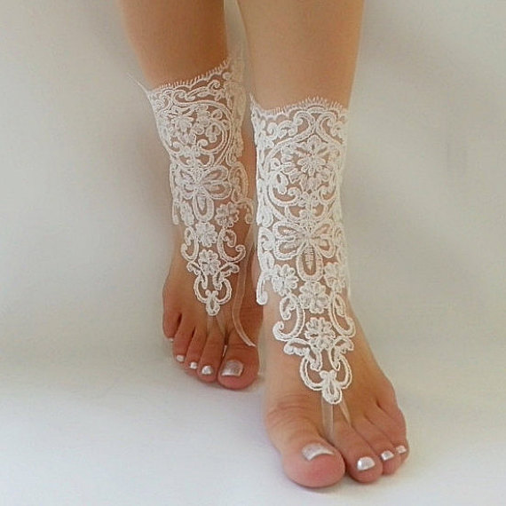 Nozze - bridal anklet, ivory Beach wedding barefoot sandals, bangle, wedding anklet, free ship, anklet, bridal, wedding