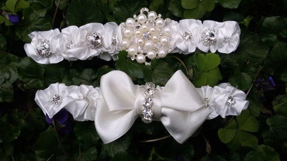 زفاف - Wedding leg garter, Bridal garter set, Garter, Rustic wedding garter, İvory ribbon garter, Bridal accessuary, Pearl and ribbon garter,