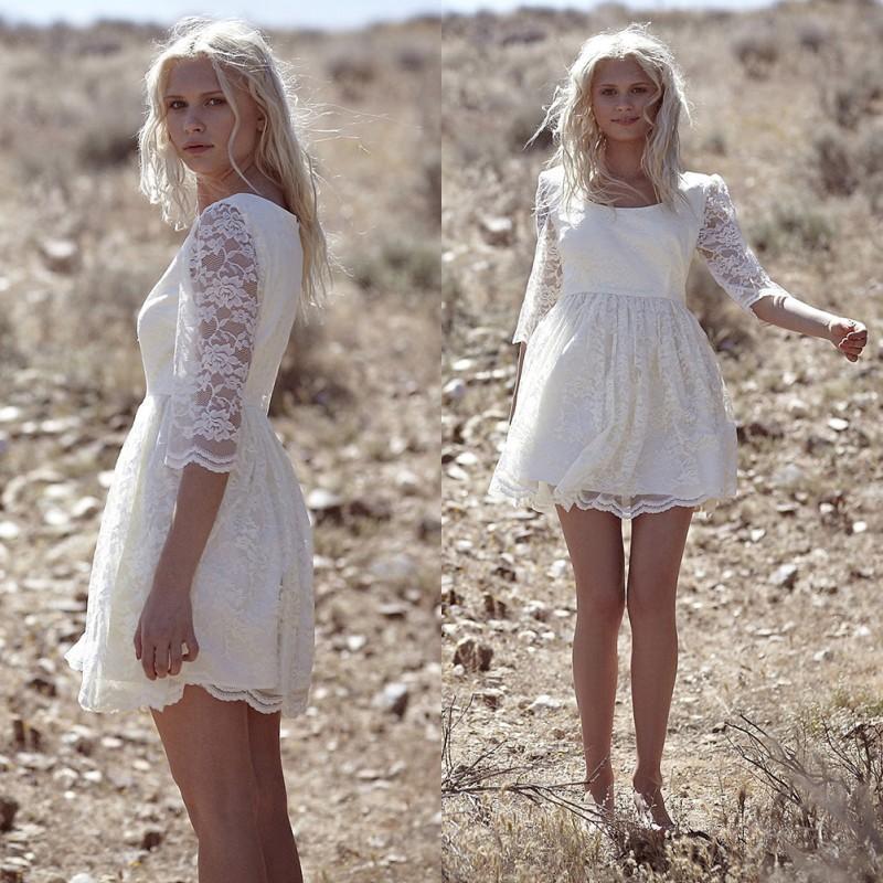 Amzing Bohemian Lace Scoop Short Wedding Dresses 2016 Sheer Illusion