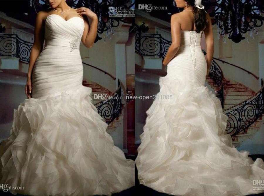 Hochzeit - 2014 New Custom Plus Size Sexy Sweetheart Strapless Beautifully Organza Mermaid Wedding Dress Bridal Gown Online with $93.05/Piece on New-open201088's Store