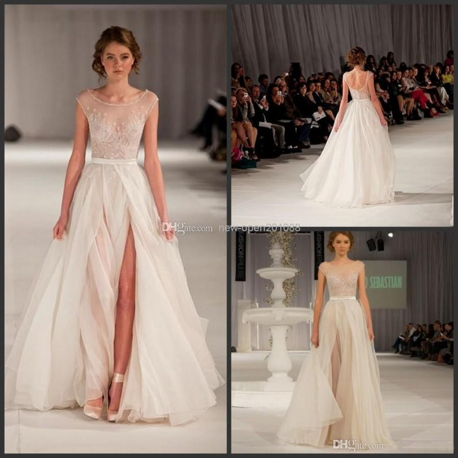 Wedding - 2014 New Arrival Elie Saab Elegant Runway White Nude Tulle Scoop Tank Embroidery Long Strap Evening Formal /Prom Dress DH-69 Online with $63.86/Piece on New-open201088's Store