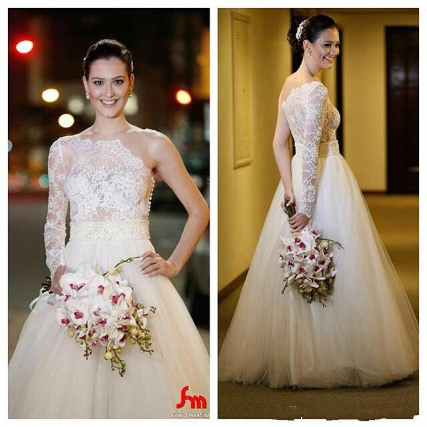 Stunning Sheer Lace Wedding Dresses Vestidos De Novia With One Long Sleeve Illusion Zipper Back A Line Tulle Simple Bridal Dress Ball Gowns Online