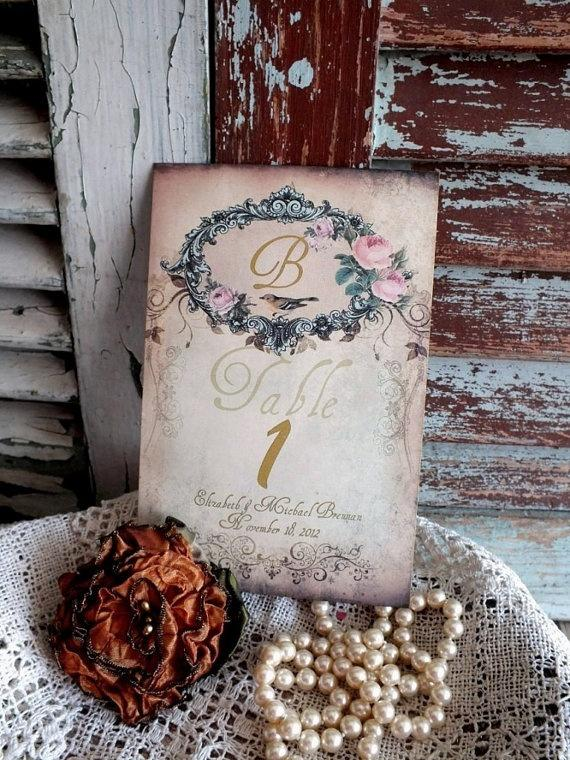 7e6a7fb87ac84 Items Similar To Vintage Romantic Wedding Table Number Cards ...