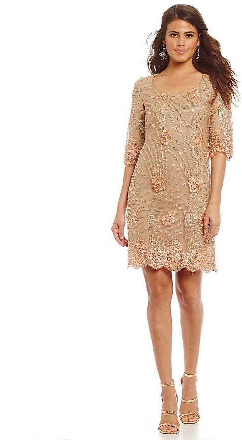 Belle Badgley Mischka Elena Metallic-Lace Shift Dress #2362579 ...