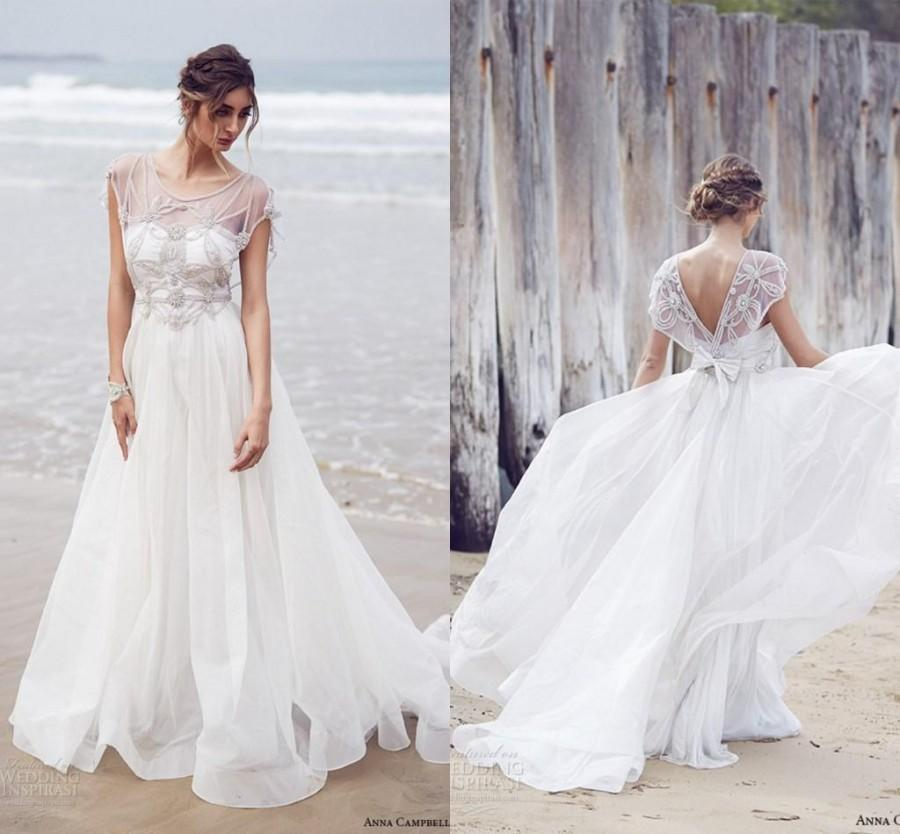 New Arrival Anna Campbell Wedding Dresses 2016 A Line Scoop Backless ...